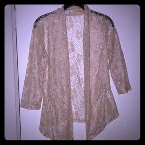 NWOT cream floral lace open blouse - small